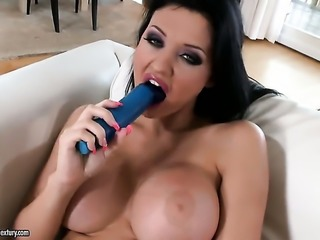 Aletta Ocean with juicy hooters going solo for camera