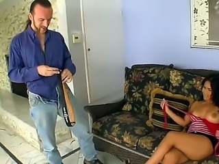 Busty asian babe Jessica Bangkok gives blowjob to a hairy guy then spreads...