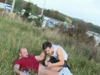 Naked gay midget Muscular Studs Fuck in The Grassy Field!