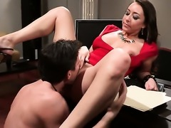Brunette MILF in red Kaylynn gets humped