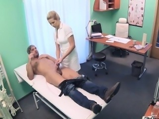 Blonde doctors pussy solves penis problem