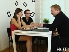 Stranger buys this hotty and starts undressing her slowly