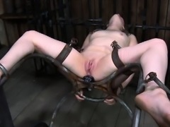 Charming babe\'s sweet teats receives painful torturing