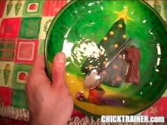 Gokkun Xmas Porn 2005: Eating four cum loads with as spoon