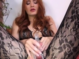 horny kitchen toy in her pussy hole