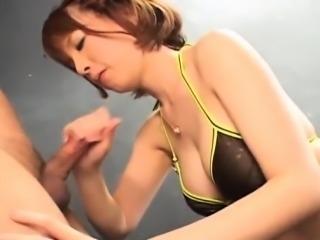 Ryo Tsujimoto sucks two shlongs and gets cum on face and