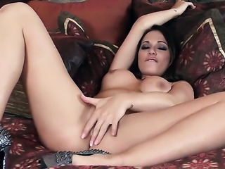 Destiny Dixon with gigantic tits and clean twat makes her sexual fantasies come true in solo action