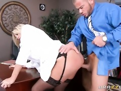 Hot lady doctor Audrey Show in black stockings gets shagged