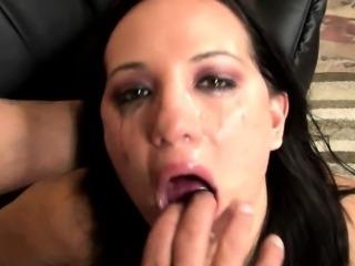 Piledriving cock into a latinas throat