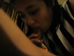 Shy Asian teen chick sucking on his cock