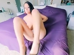 Raven haired slut is in a pov video. She has her huge ass turned to us. A...