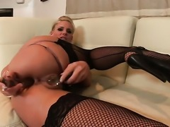 Phoenix Marie takes sex toy in her bum after sexy striptease