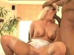 Big tits whore Holly Heart double fucked by big black dicks