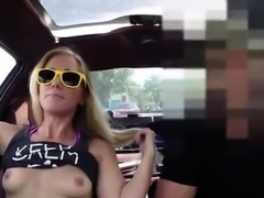 Huge white tits Blonde bimbo tries to sell car, sells hersel