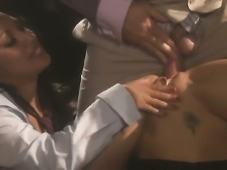 Blonde and brunette is giving a blow job