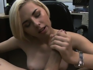 Short Haired Blonde Getting Her Face Fucked In Pawn Shop
