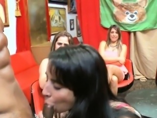 Pretty sexy girls sucks cock and gets fucked hard