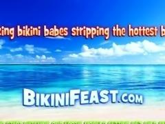 Stunning babe in net bikini