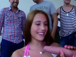 Kyra Hot is showing off her hot body to a group of men. She is having group...