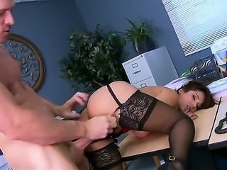 There is too much work to do and Reena Sky needs a break. She look at her coworker to have some fun and she gets naked so they could have sex in office.