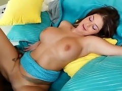 Brook Ultra is trying on a big black meat stick for size. It goes inside her pussy and her huge ass bounces up and down as she is penetrated. Her large tits are jiggling.
