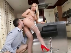 Blonde Kiara Lord gets her throat fucked good and hard