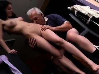 Handjob mistress milking Horny senior Bruce spots a cute dol