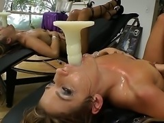 Brunette with huge tits is getting covered in cum. She is  a messy woman and she likes her whole face to be sticky from some men juice.