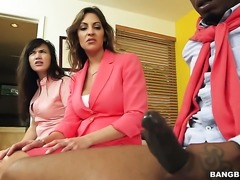 Brunette with big booty gets the hole between her legs rubbed by her lesbian...