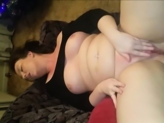 Chubby\'s Shaved Pussy Gushes Pussy Juices.