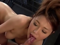 A small Japanese beauty is spreading her hairy pink pussy for a guy. The...