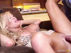 Blonde pornstars receives a hard dick