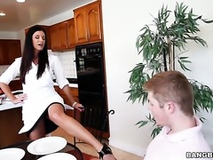 Brunette India Summer with phat butt shows off her sexy body while getting...