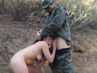 Mexican babe sucks off and screwed by border patrol officer