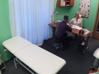 Nurse jerking cock of patient