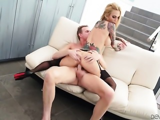 Sarah Jessie with juicy knockers gets cummed on after blowing Mark Woods rock hard love wand