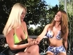 Two horny wenches share a stiff manhood