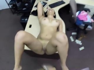 Cute and horny latina babe having a huge cock