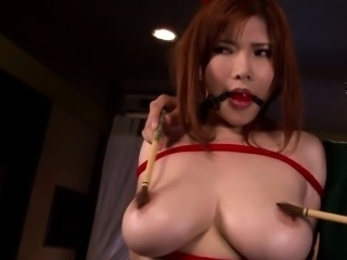 Bound asian pornstar cum splattered