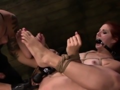 Bound slave anally fucked
