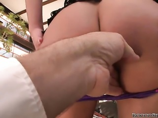 Rocco Siffredi uses his rock solid love torpedo to make blowjob addict Cathy Heaven happy