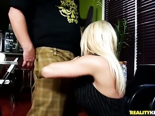 Blonde with big boobs and clean bush is in heaven sucking dudes meaty love wand