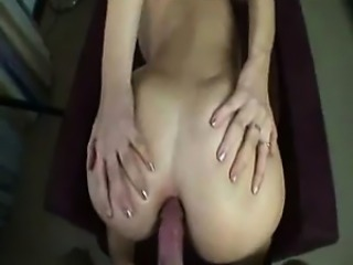 Enormous white dick in her small rectum
