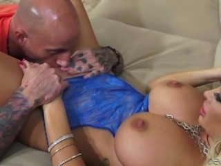 Beautiful blonde MILF Summer Brielle dressed in blue shows her perfect huge boobs to Barry Scott and then gets her sweet pussy eaten out. Nothing can stop her from licking her twat