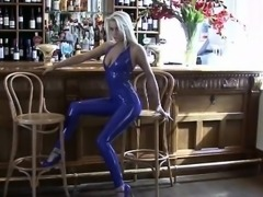 Beautiful blonde latex fetish babe