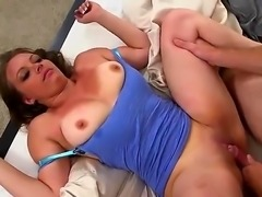 Brunette milf with huge tits loves it when a dick enters her pussy after her...