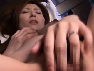 Asian milf toying her wet pussy with vibrator