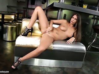 Brunette goddess shows every inch of her body before her masturbates on cam