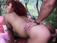 Redhead ebony babe gets assfucked outdoors