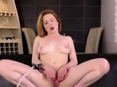 European girl enjoys funny sex toy and thursts big sex toy i
